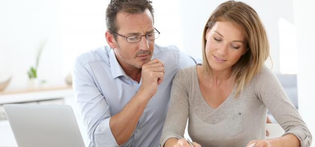 Couple looking at finances
